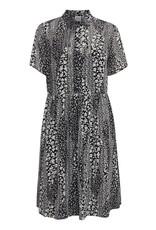 Ichi Etty Button Dress With Collar Black
