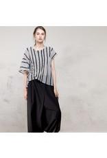 Colour 5 Asymmetrical Ruched Top Grey/Black