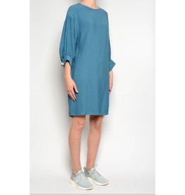Pan Balloon Sleeves Dress Blue