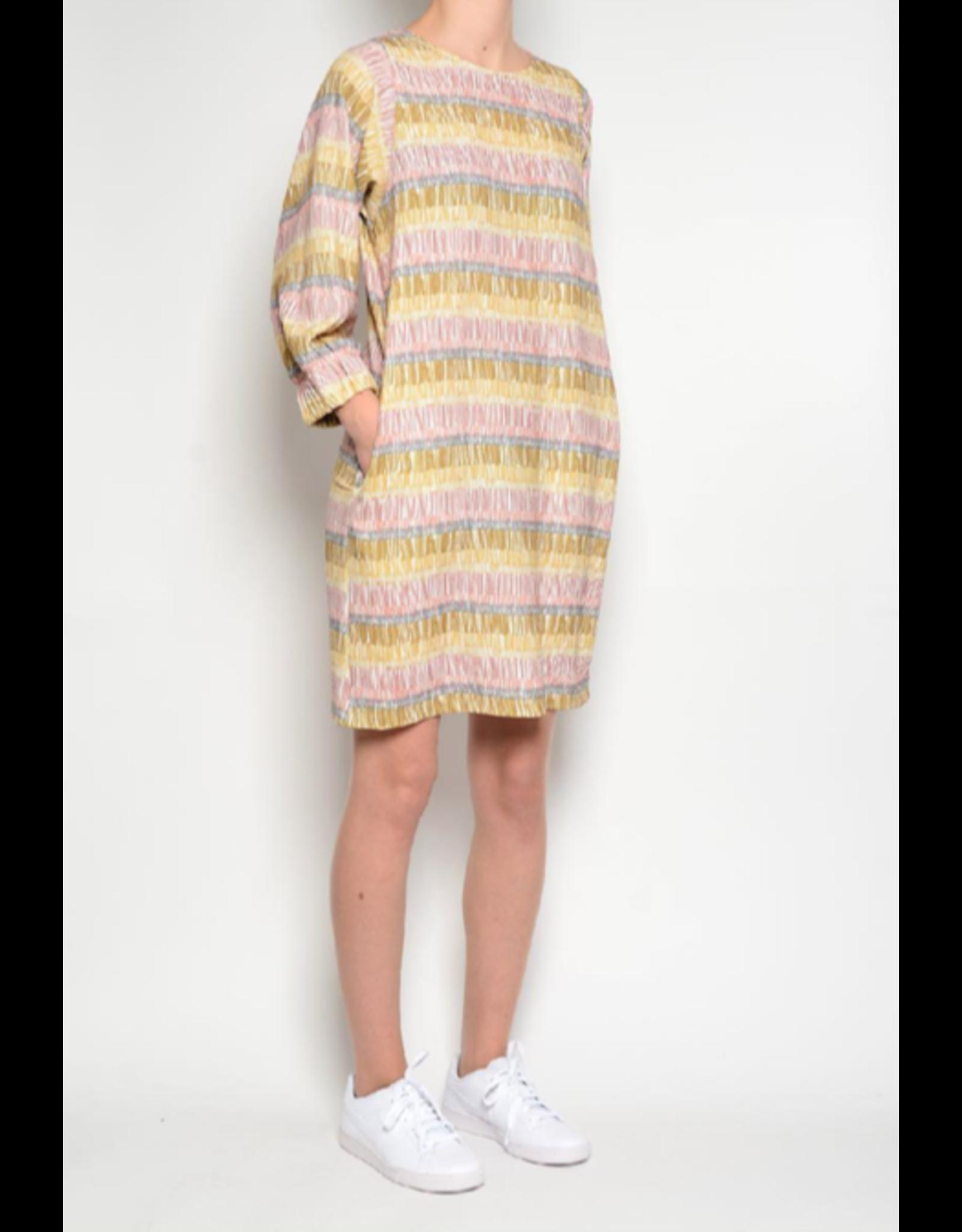 Pan Shift Dress with Pockets Mustard Print