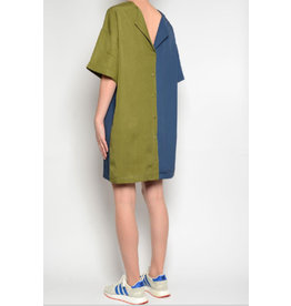 Pan Vneck Shift Dress Blue/Khaki