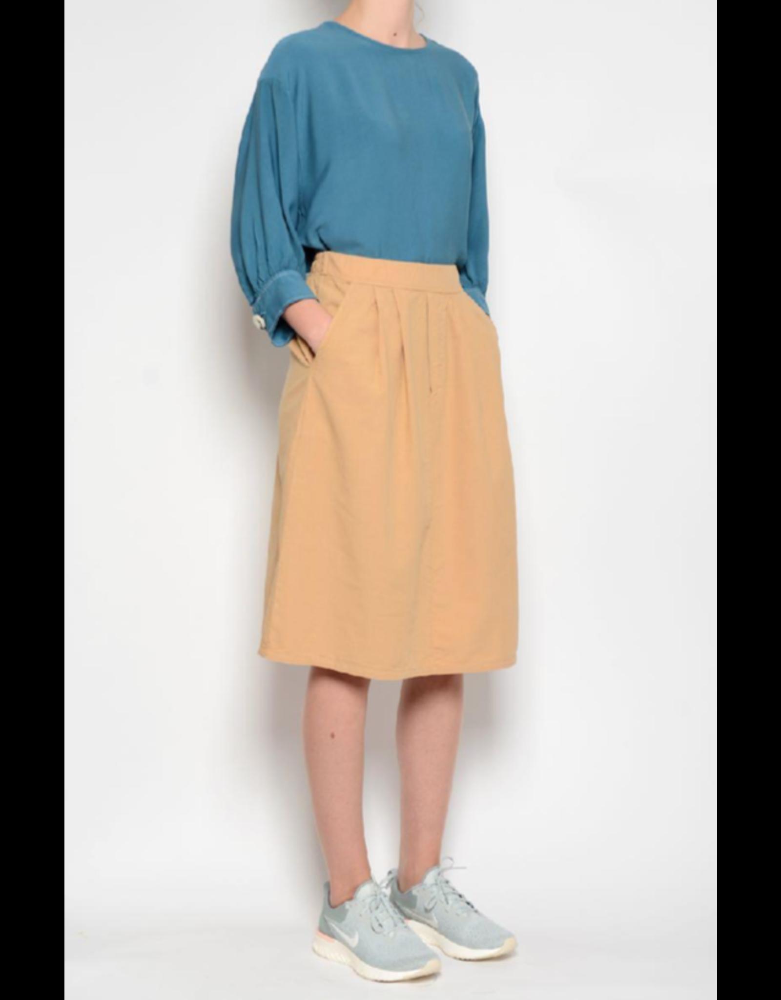 Pan Pleated Midi Skirt Camel