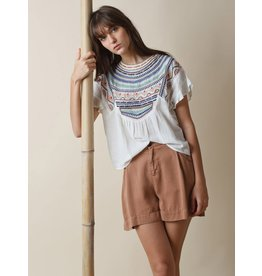 Indi & Cold Embroidery Detail Blouse White Print
