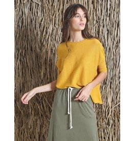 Indi & Cold Short Sleeve Sweater Mustard