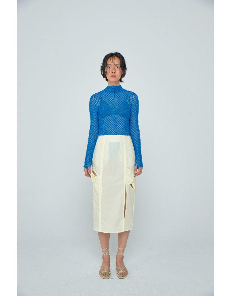 Wnderkammer Midi Ruched Skirt with Pocket Yellow
