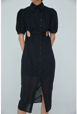 Wnderkammer Midi Dress with Buttons Black