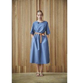 Maison De Ines Button Detail Dress with Belt Blue