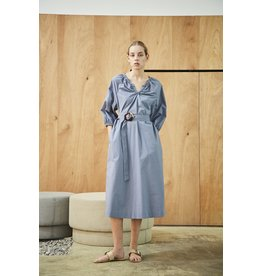 Maison De Ines Elastic Detail Midi Dress Sky Blue