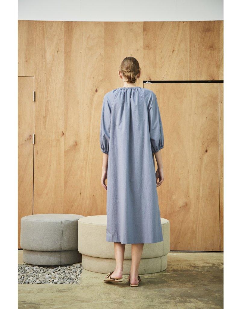 Maison De Ines Elastic Detail Midi Dress Sky Blue