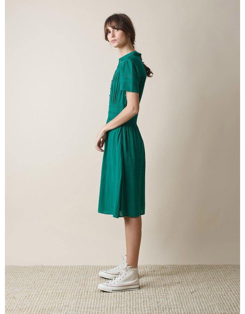 Indi & Cold Midi Fit Flare Dress Green