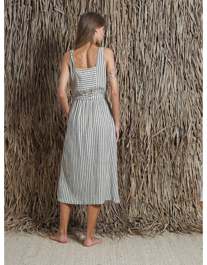 Indi & Cold Midi Belted Dress Black Stripe