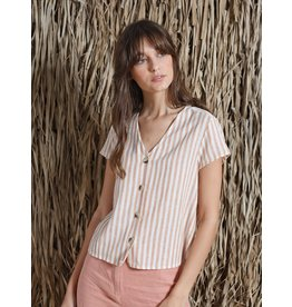 Indi & Cold Short Sleeve Vneck Top Cinammon Stripe