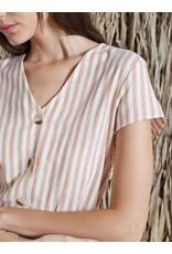 Indi & Cold Short Sleeve Vneck Top Cinammon Stripe
