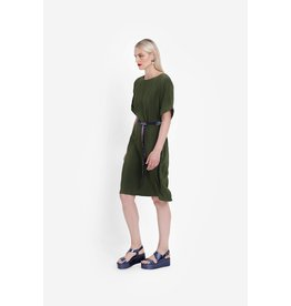 Elk Arden Midi Shift Dress with Belt Olive