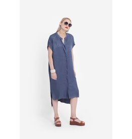 Elk Lesja Midi Button Front Dress Bluestone