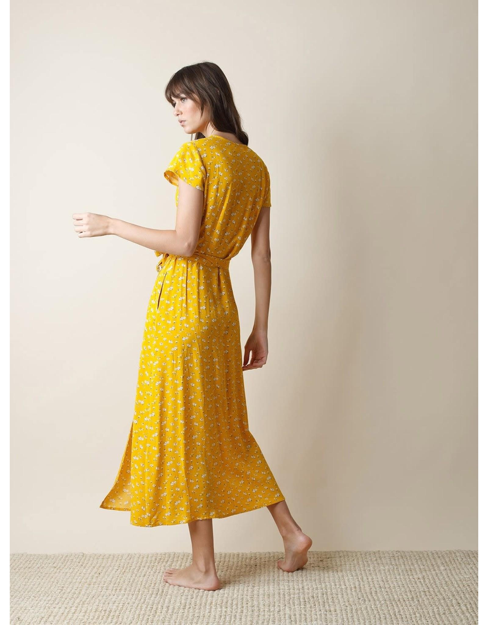 Indi & Cold Maxi Wrap Dress Yellow