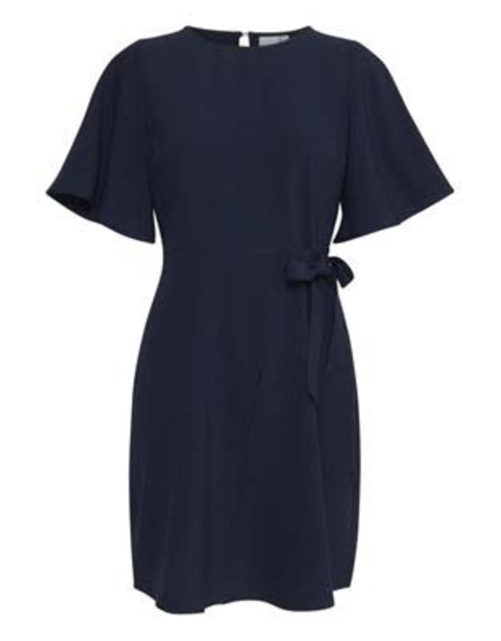 Ichi Belinda Midi Dress with Tie Navy