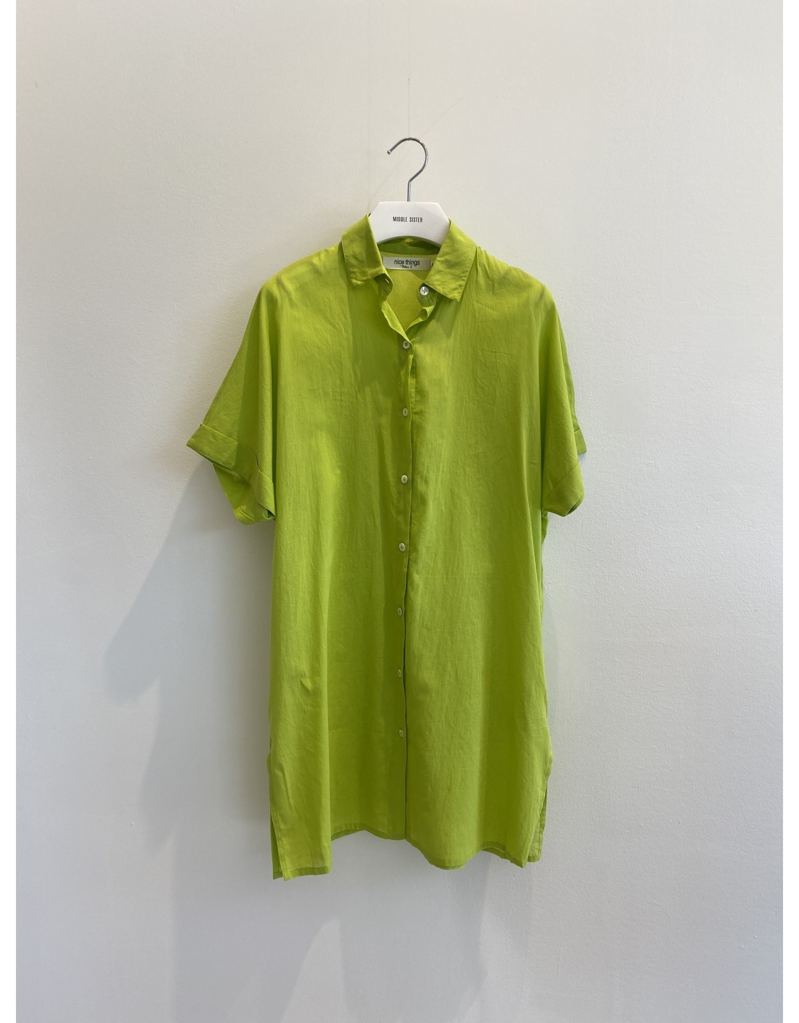 Nice Things Beach Top Button Front Lime Green