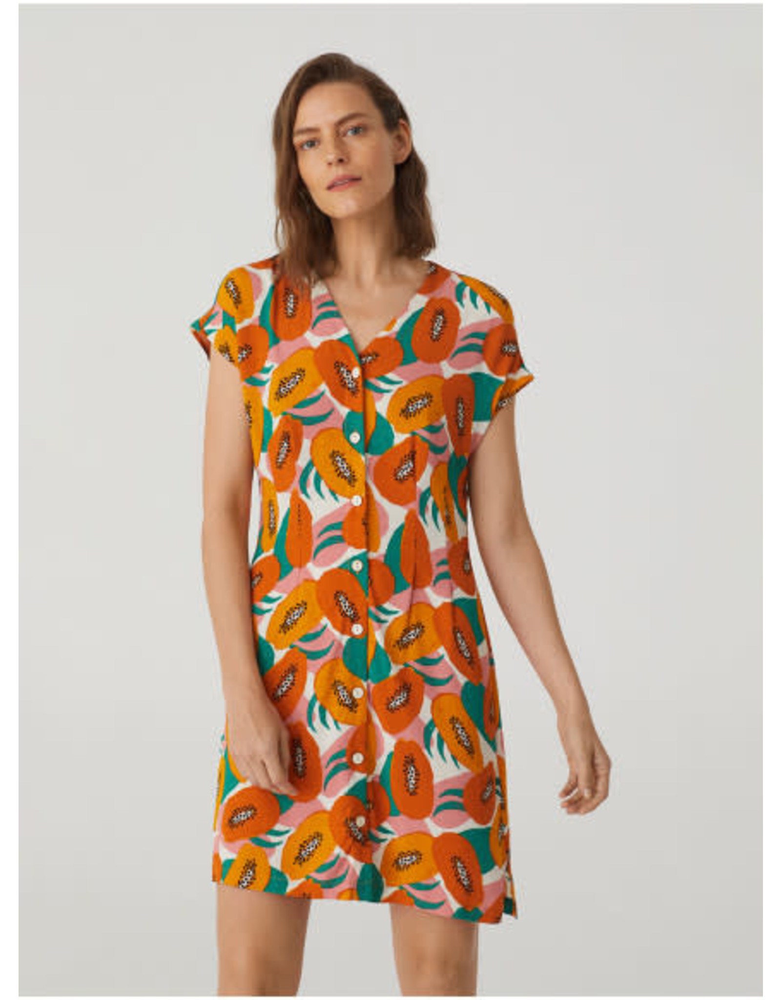 Nice Things Buttons Dress Papaya Print