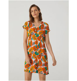 Nice Things Buttons Dress Papaya Print