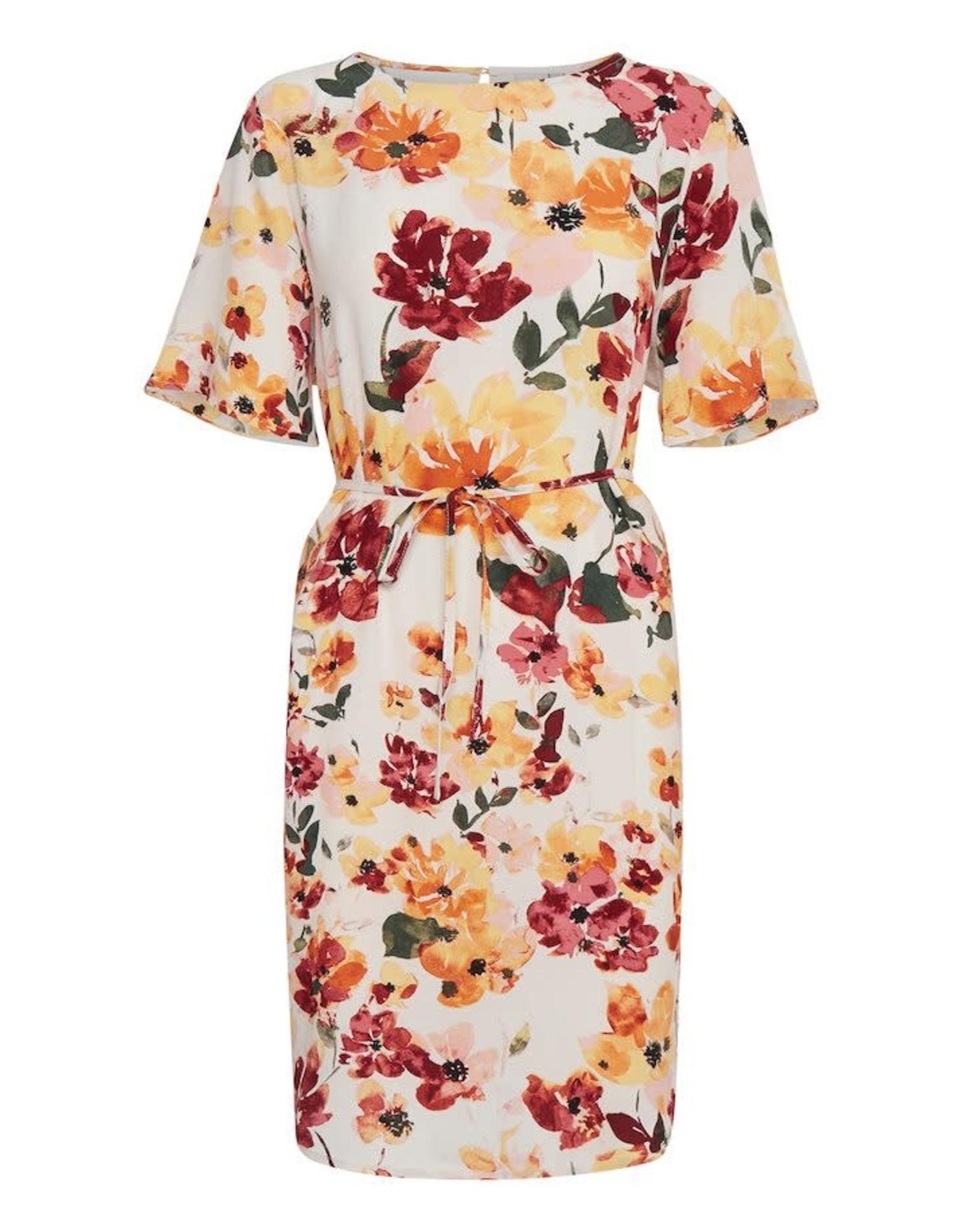 Ichi Brunsa Shift Dress with Belt Floral