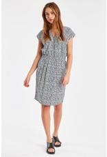 Ichi Bruce Pleated Dress Navy Print