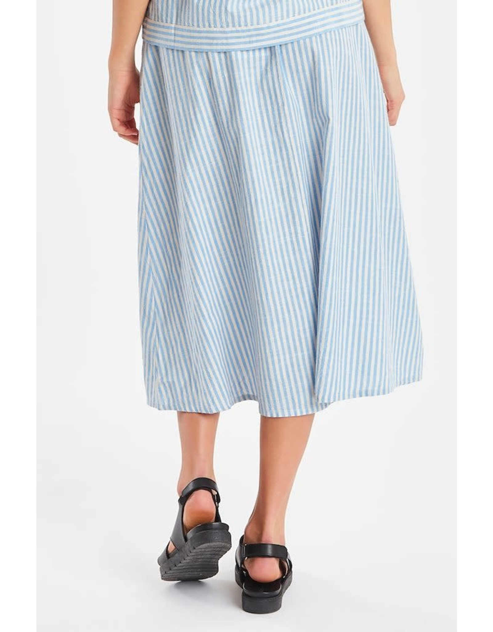 Ichi Tulle Skirt with Pockets Blue Stripe