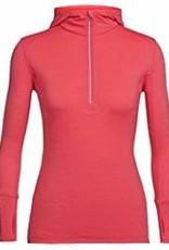 Icebreaker Sous-vêtement Icebreaker Fluid Zone LS Demi-zip ;a Capuchon Femme