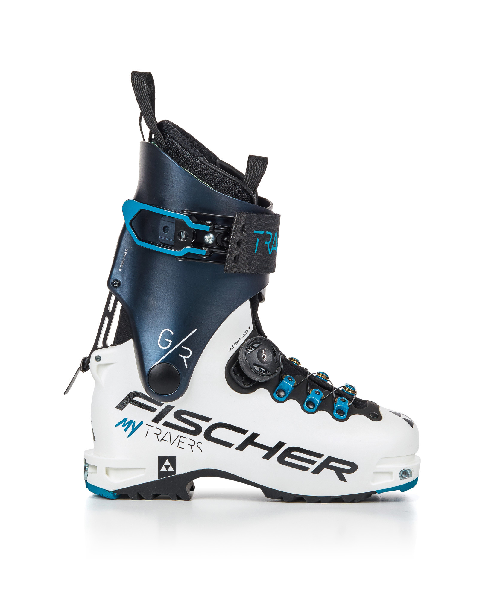 Bottes Alpine Fischer MY Travers GR Femme Blanc/Bleu Nuit