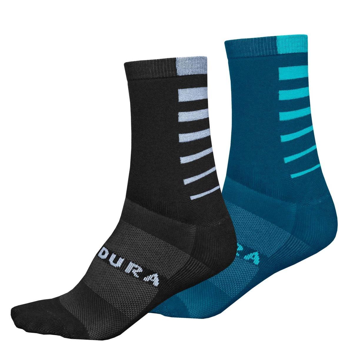 Bas Endura Coolmax Stripe - 2 paires : Turquoise & Noir