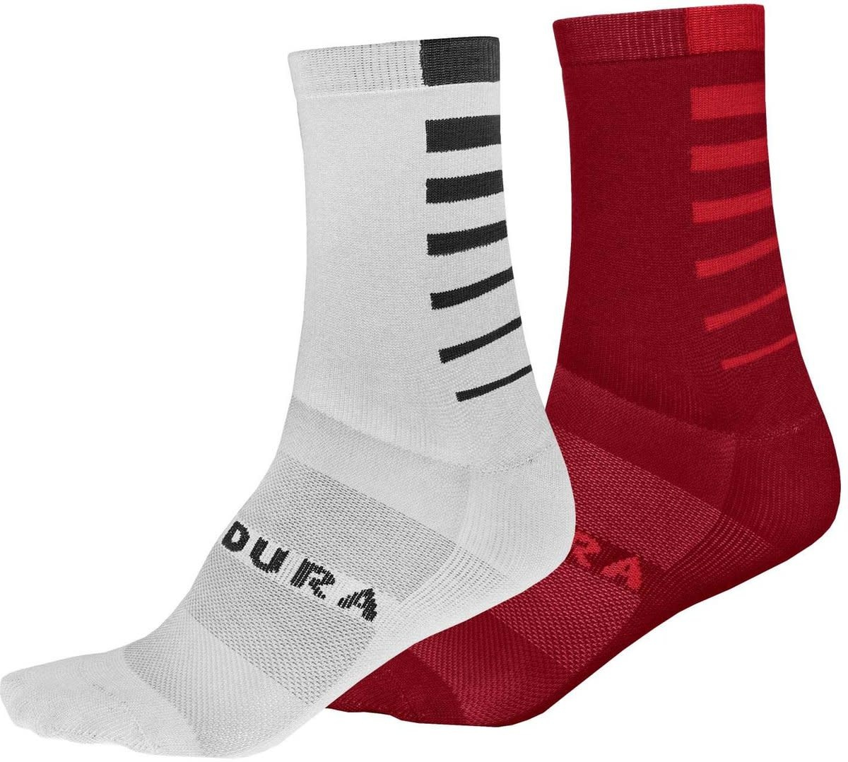 Bas Endura Coolmax Stripe - 2 paires : Rouge & Blanc