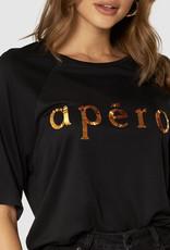 Apero Brooklyn Beaded Oversized Tee Black/ Gold