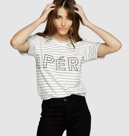Apero Mondo Stripe Embroidered Tee Grey Stripe/ Black
