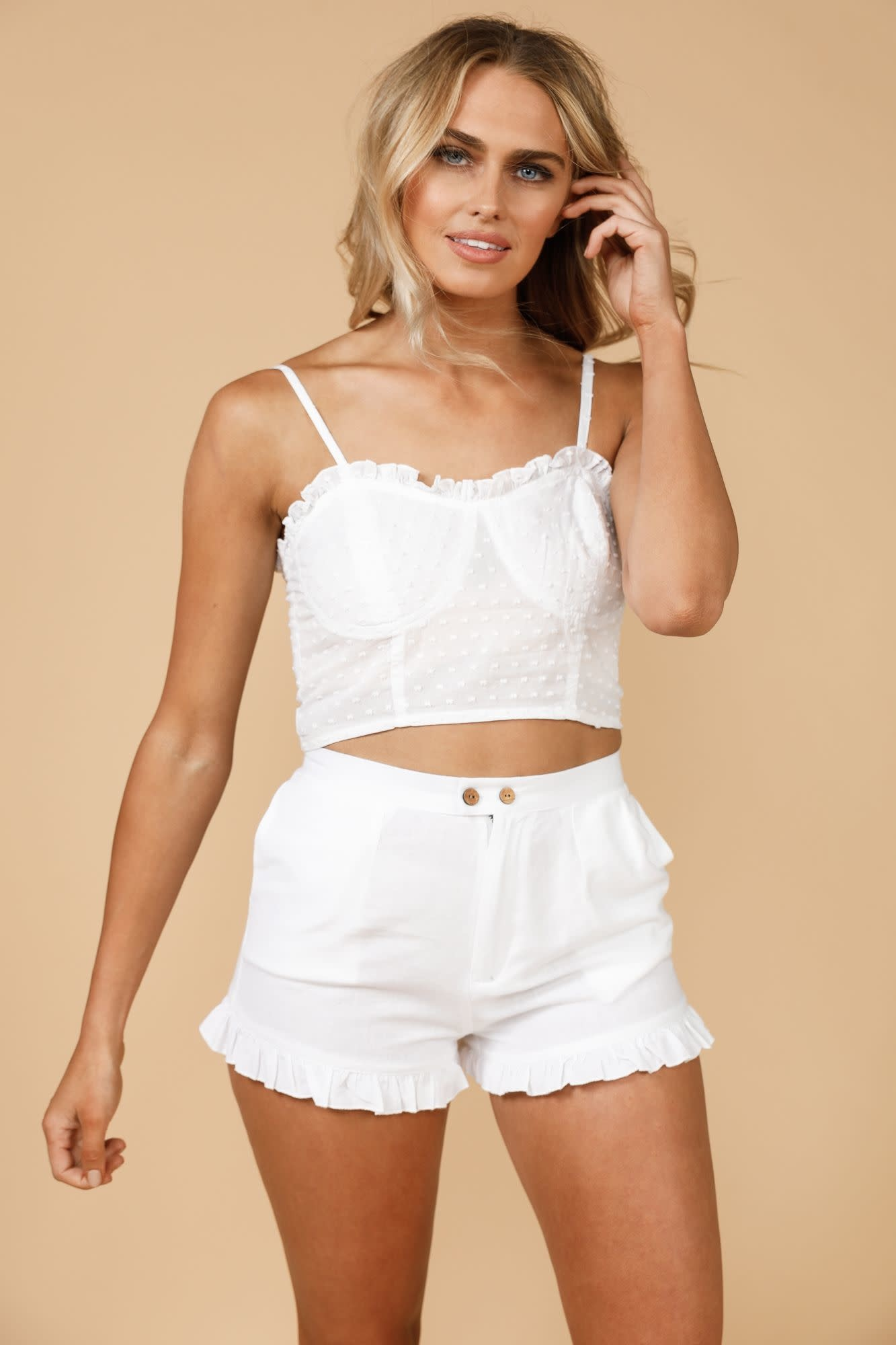 Daisy Says Juliana Crop Top White Dobby