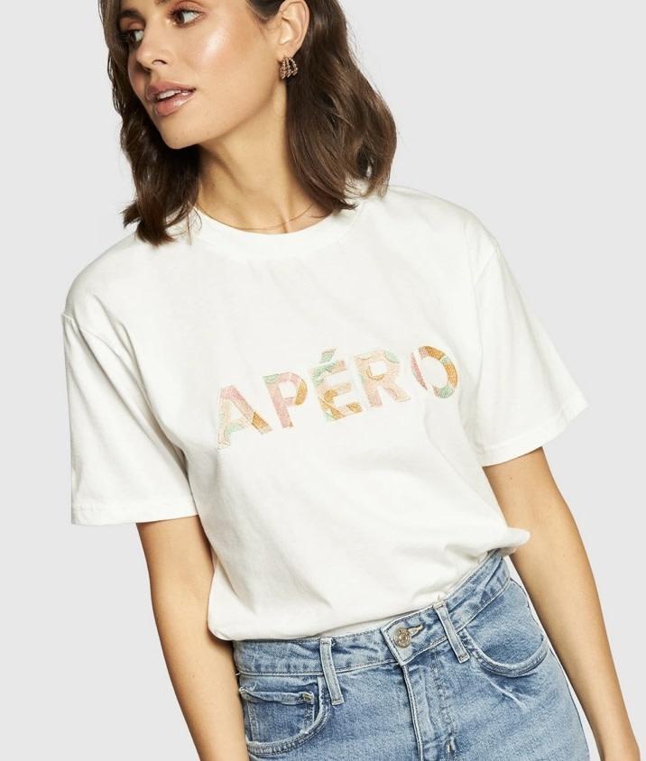 Apero Luna Embroidered Tee White/Multi