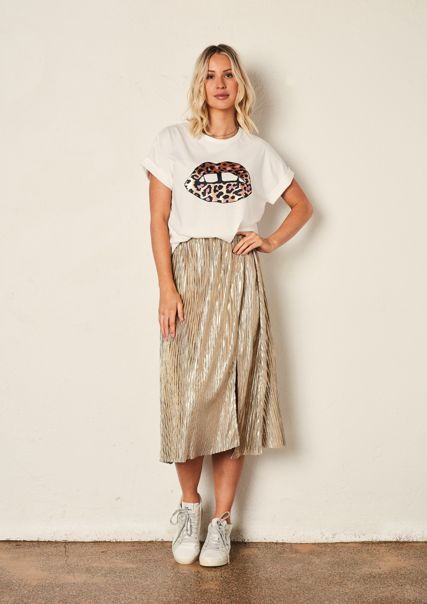 The Others The relaxed Tee White Leopard lips