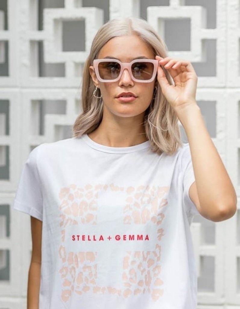 Stella & Gemma White Rose Leopard Tee