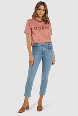 Apero Tones Embroidered Tee Dusty Pink/Burgandy