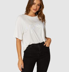 Apero Blanc Beaded Oversized Tee White