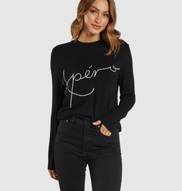 Apero Blaise Embroidered Long Sleeve Top Black