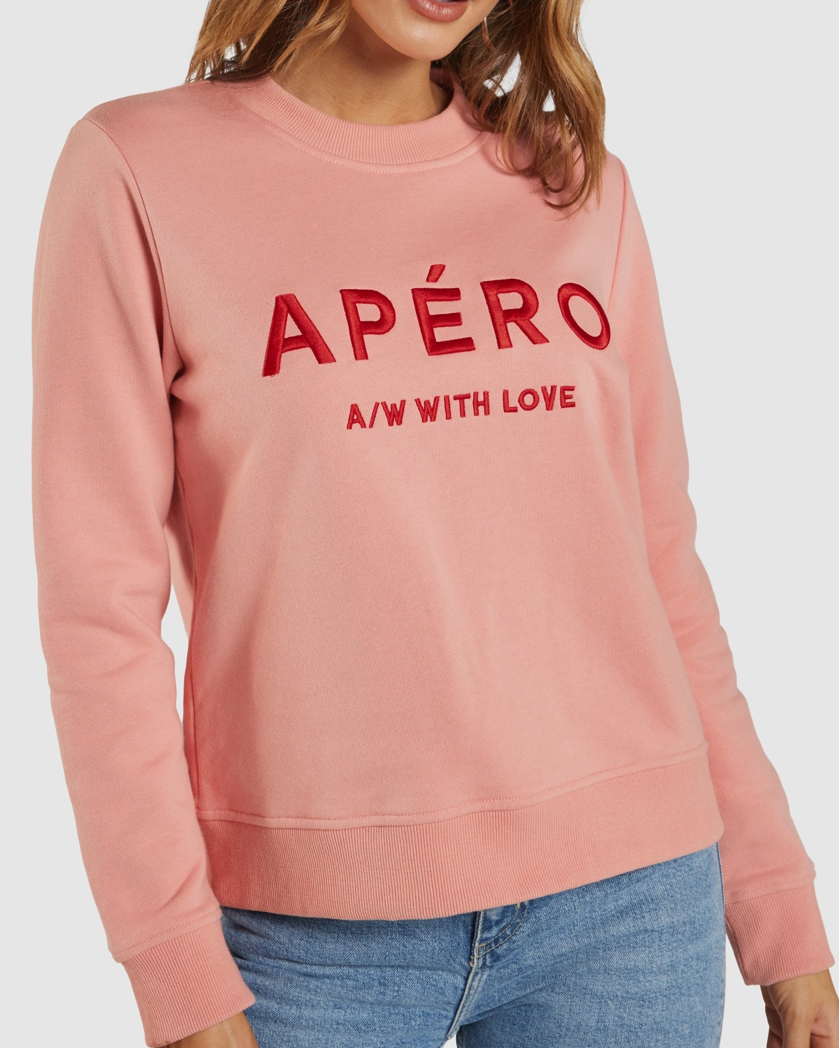 Apero AW with Love Embroidered Jumper Peach Kiss/Red