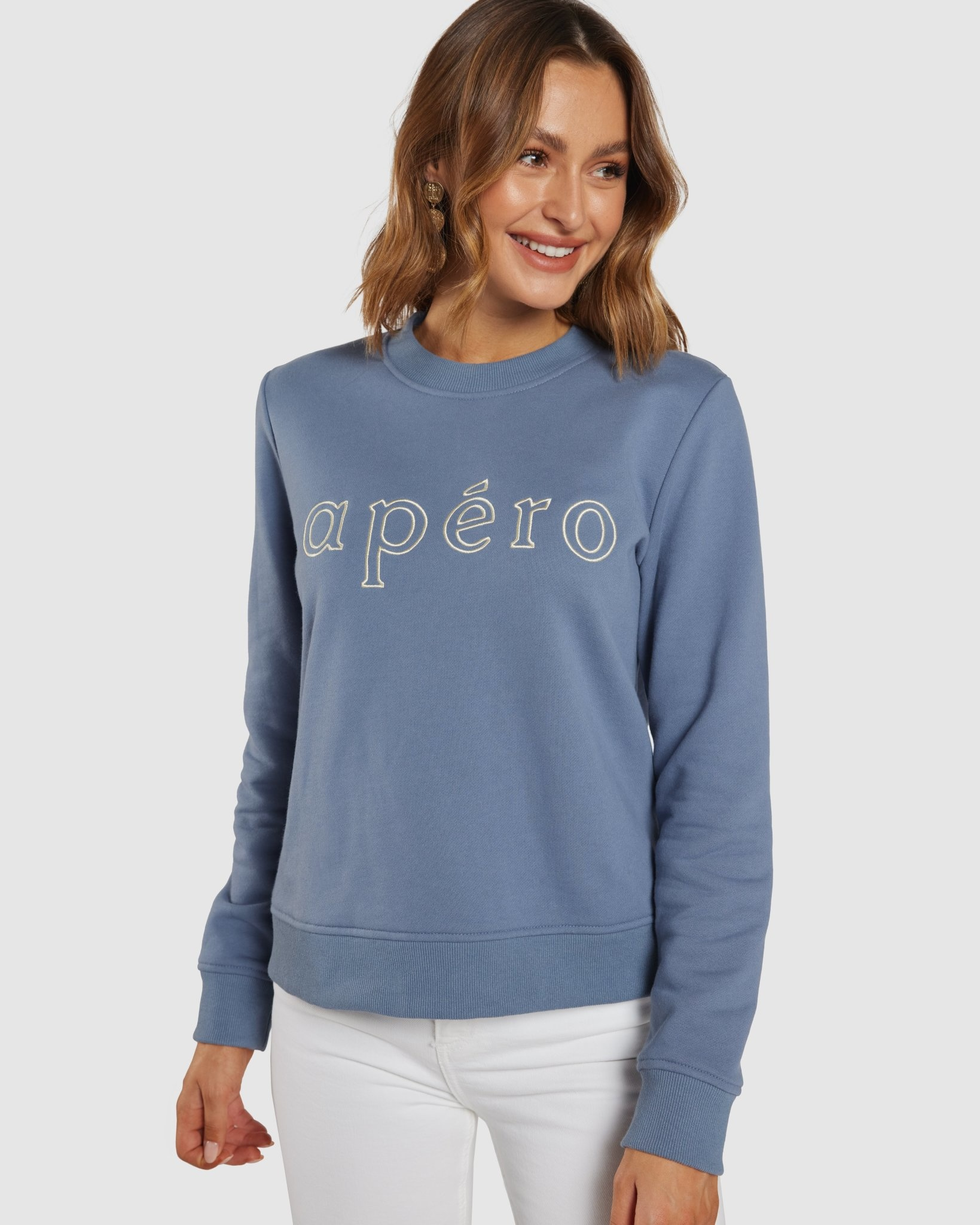 Apero Outline Emb Jumper Washed Blue/Cream