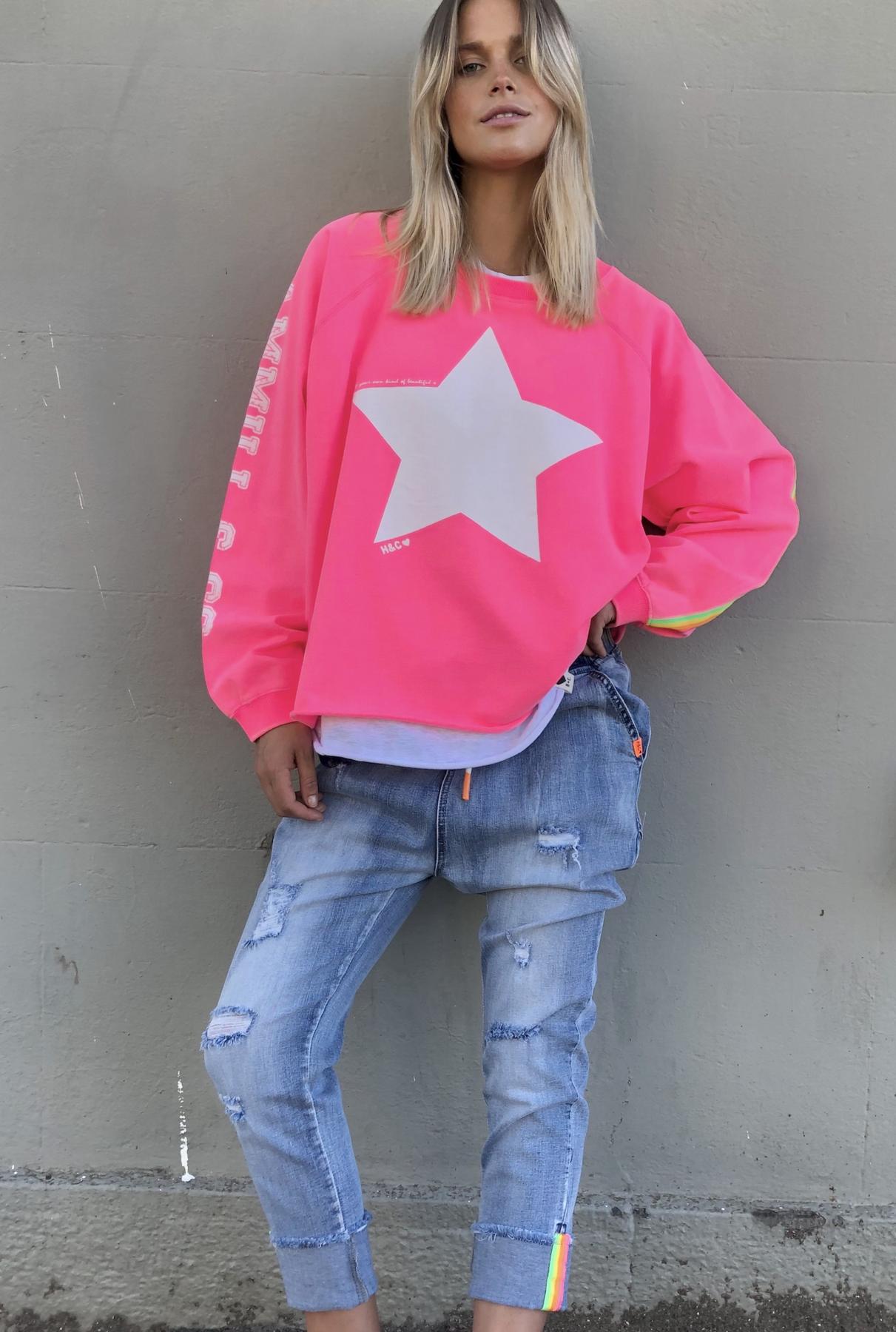 Cat Hammill Boxy Star Sweat Hot Pink