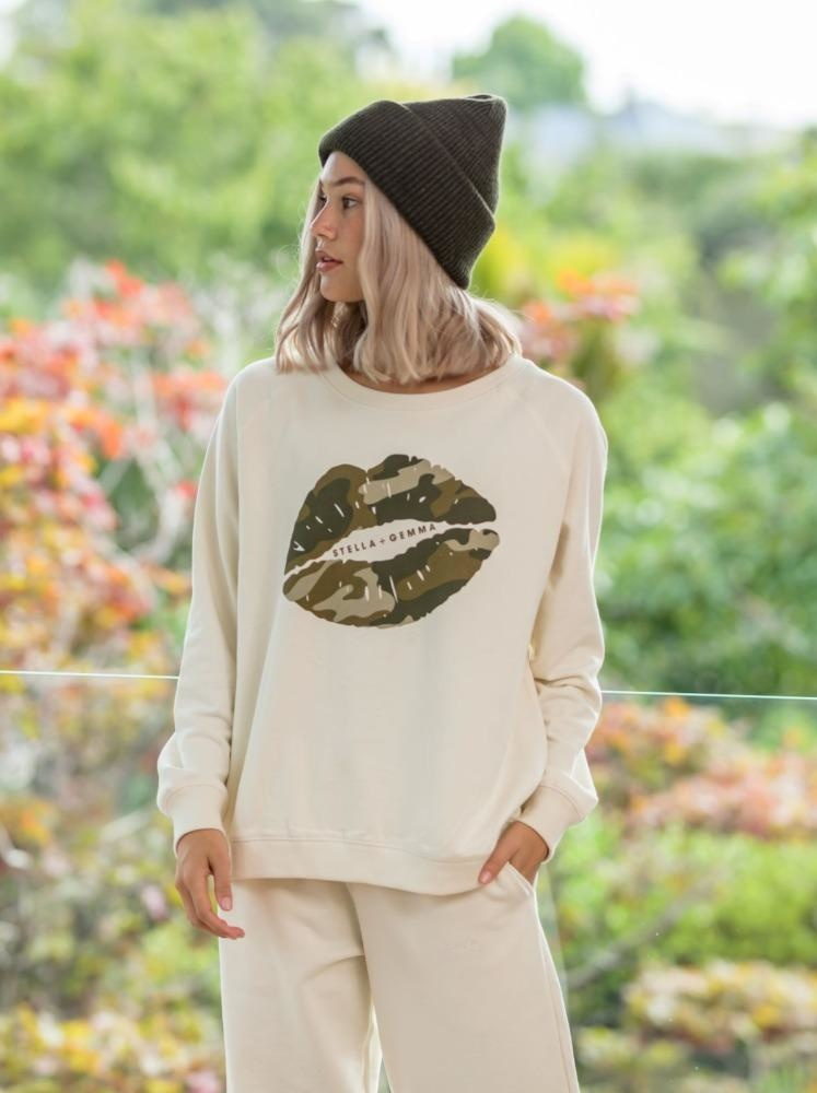 Stella & Gemma Alabaster Camo Lips Sweater