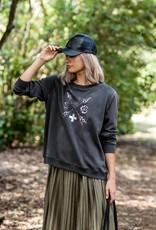 Stella & Gemma Black Grey Leopard Sweater