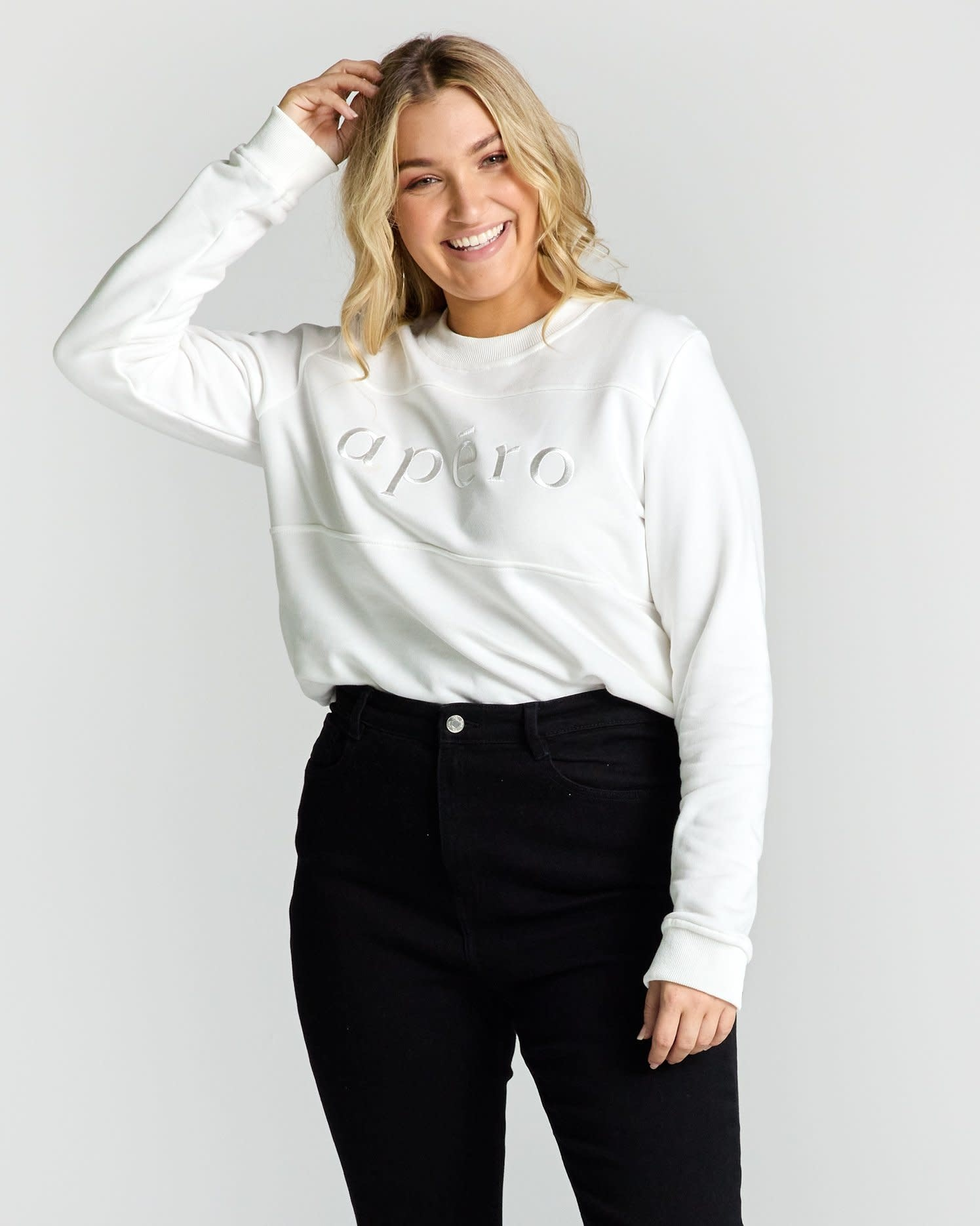 Apero Panel Embroidered Jumper Off White