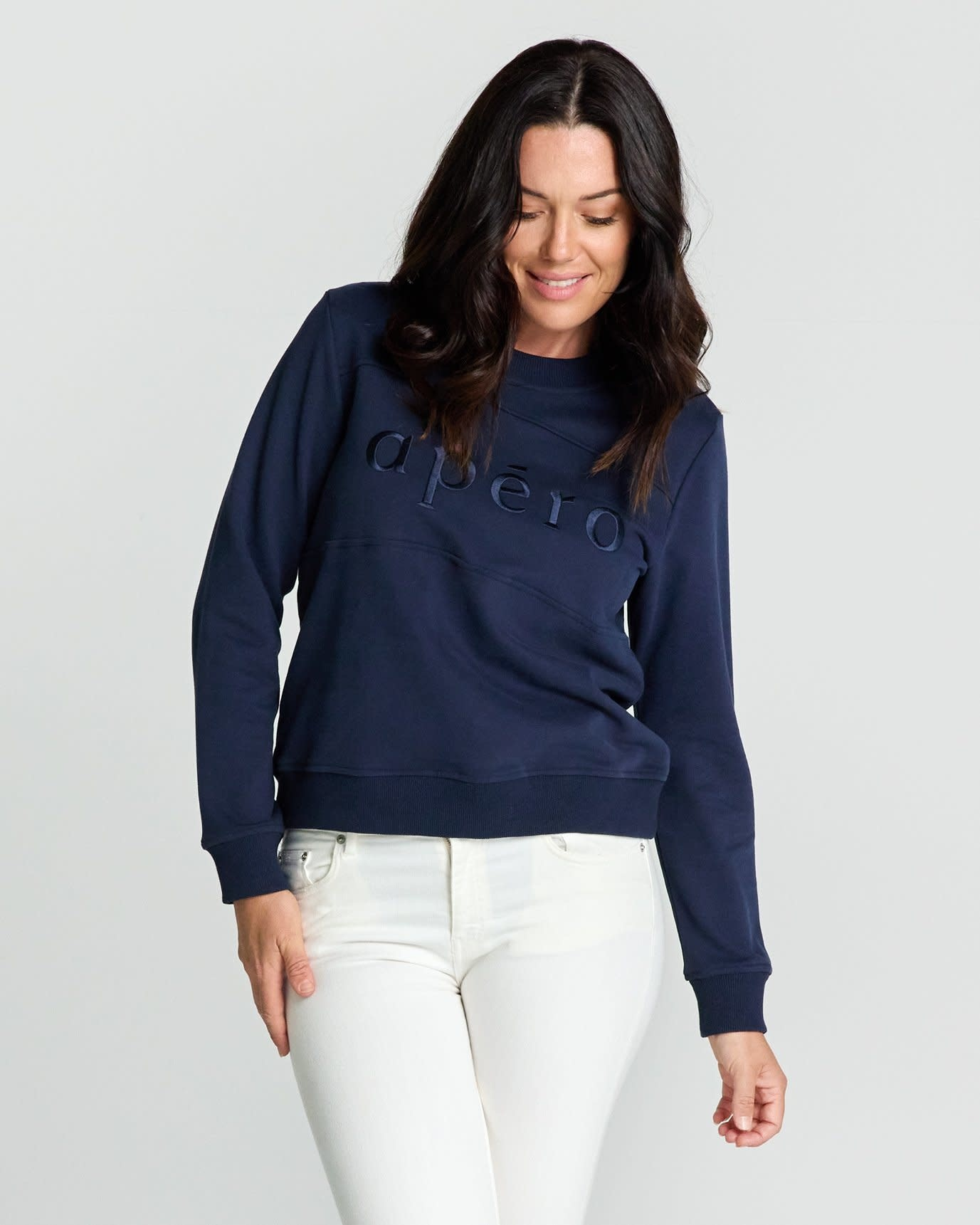 Apero Panel Embroidered Jumper Navy