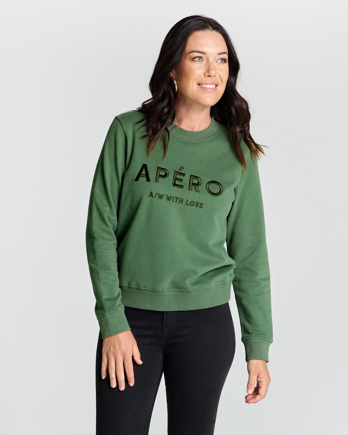 Apero AW with Love Embroidered Jumper Green