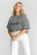 Apero Pia Stripe Embroided Ovesized tee Black White Stripe (N)
