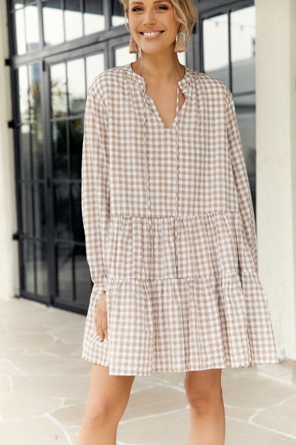Angie Long Sleeve Checked Dress Mocha Lined (N)